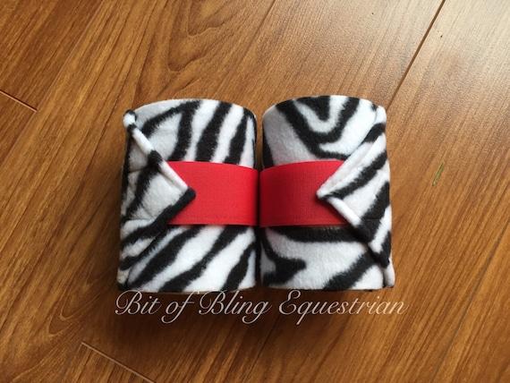 2 Zebra Print Polo Wraps with Coloured velcro