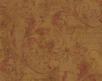 Scrolling Leaves Fleur De Lis And Elegant Script On A Metallic Worn Stucco Texture