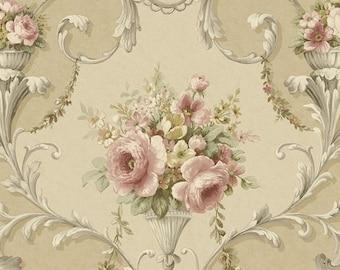 Large Antiqued Rose Wallpaper - Scrolling Acanthus Leaf , Vintage Design, Victorian, Tan, Taupe, Beige, Pink - Sold By The Yard - IM36424so