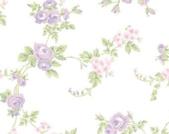 Shabby Cottage Purple Floral Wallpaper