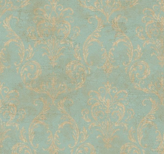 Antiqued Blue Gold Grunge Damask Wallpaper Aged Robin Egg