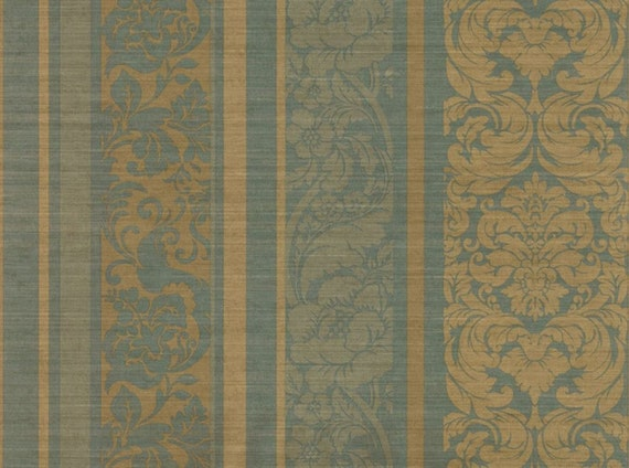 Vintage Damask Wallpaper Elegant Gold Acanthus Leaf Floral Faux Linen Texture Romantic Blue Green Victorian Stripe By The Yard Ch28298