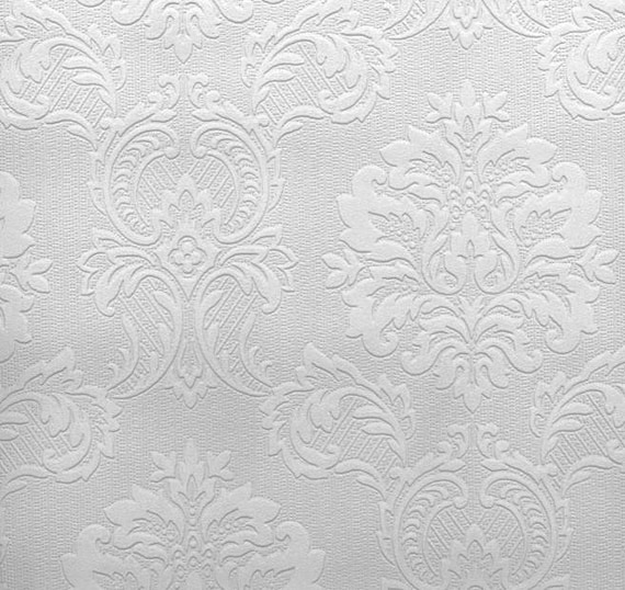 Paintable Wallpaper Regal Medallion Damask Damascene