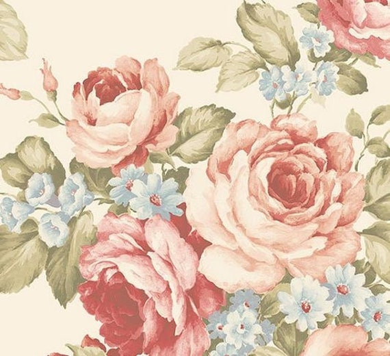 Antique FRENCH WALLPAPER Wonderful cabbage ROSES