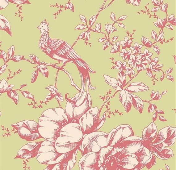 Wallpaper Roll Toile Chinoiserie Flowers Chinoiserie Gold Branches 24in x 27ft