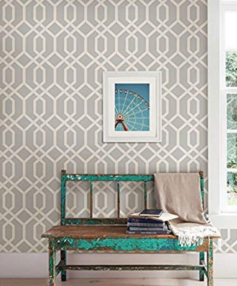 Chic Geometric Trellis Wallpaper Dining Room Accent Wall Decor By The Yard Modern Minimal Scandinavian Quatrefoil Design vFD23270so