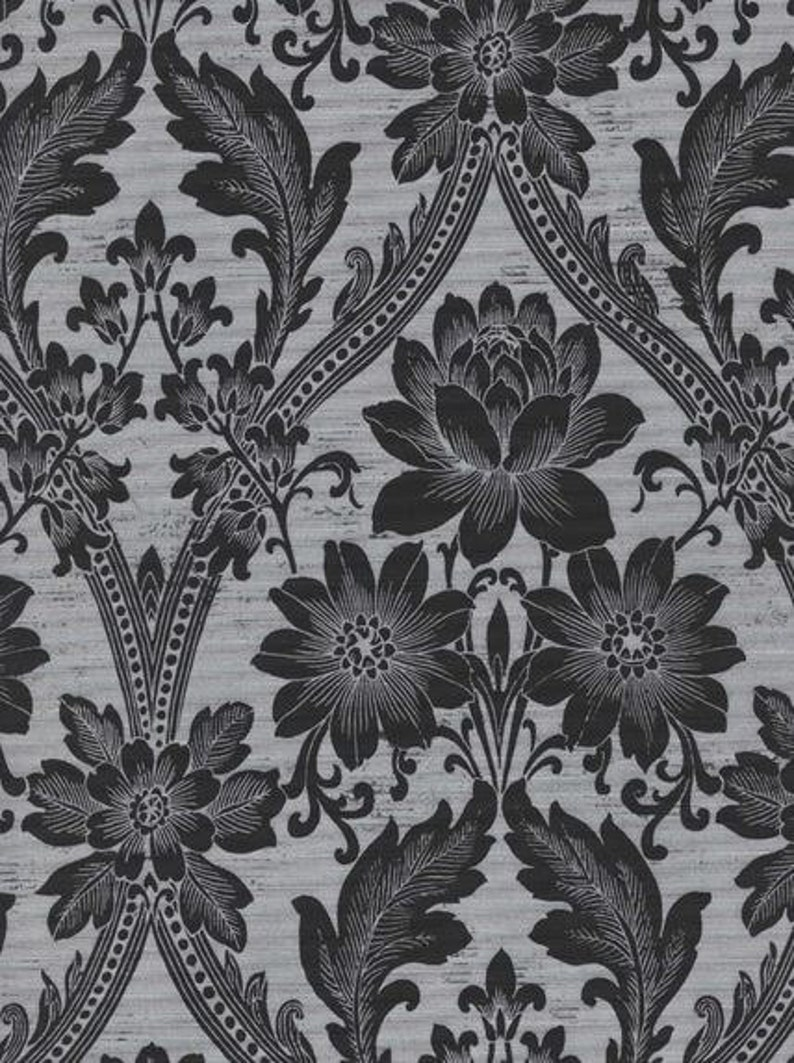 Ornate Black And Silver Gray Floral Damask Wallpaper Etsy
