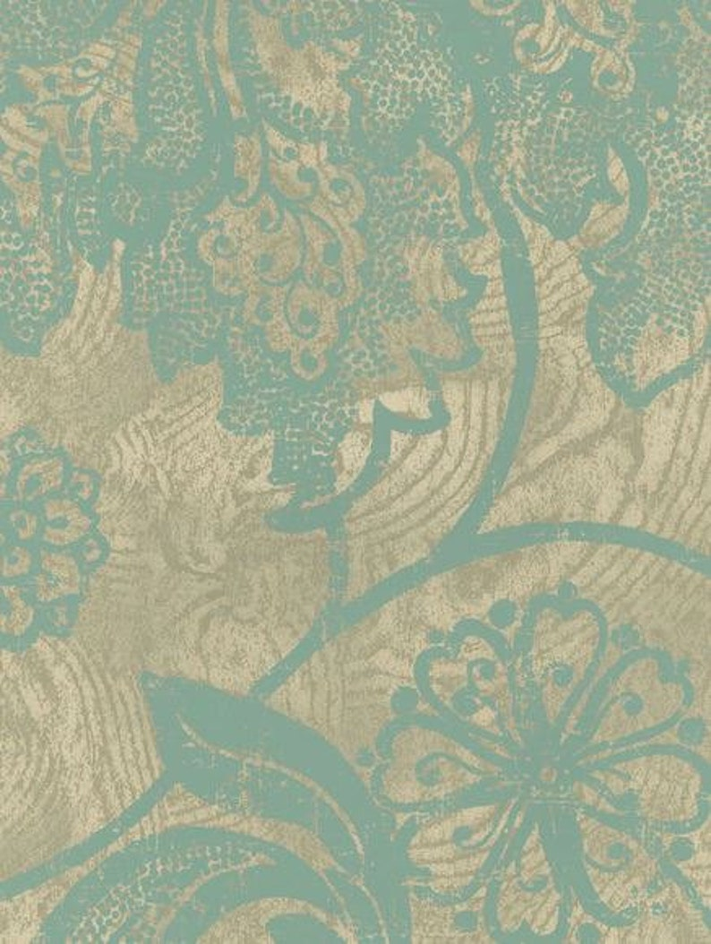 By The Yard NN4041 Blue Green Bath Kaleidoscope Teal and Silver Gray Jacobean Floral Scroll Wallpaper Bed Contemporary Texture