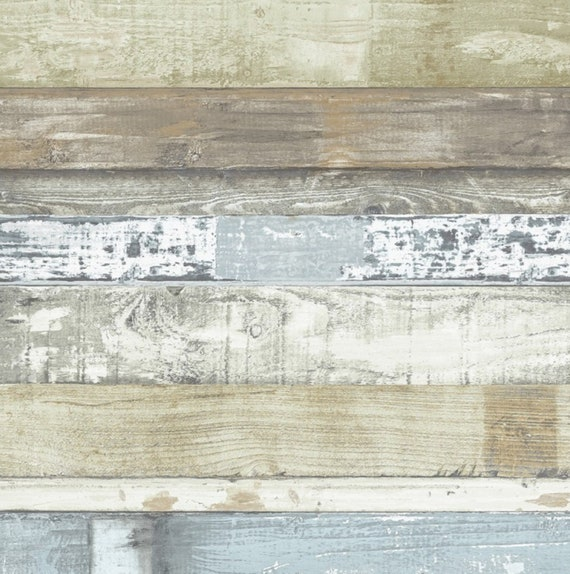 Weathered Shiplap Plank Wallpaper Rustic Distressed Barnwood Boards Shabby Coastal Cottage Old Reclaimed Wood Wall By The Yard Fh37555so