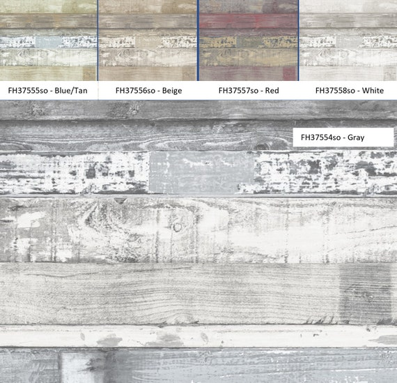 Reclaimed Wood Wallpaper Chippy Weathered Shiplap Plank Coastal Cottage Rustic Farmhouse Barnwood Pallet Boards By The Yard Vfh37554so
