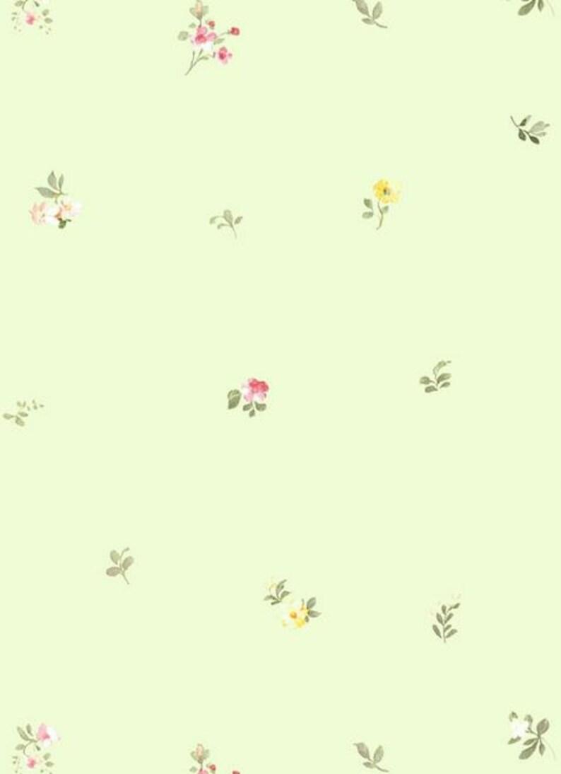 Light Green Shabby Cottage Petite Floral Wallpaper Flower Etsy