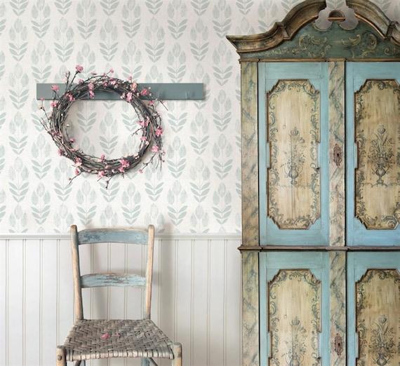Rustic Farmhouse Kitchen Wallpaper Botanical Primitive Tulip Etsy