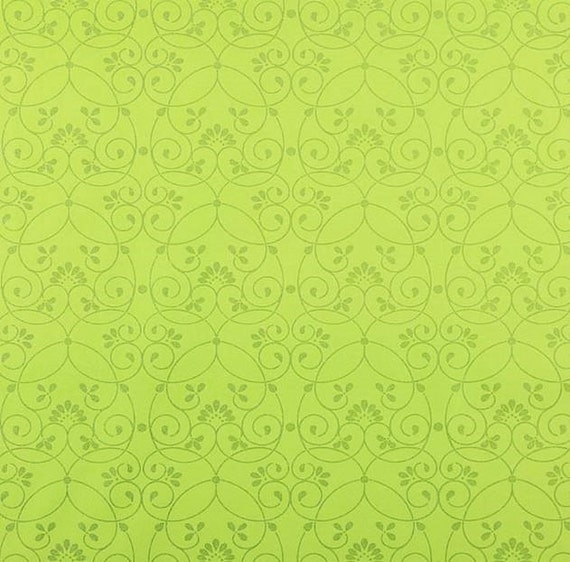 Wallpaper Bright Green With Whimsical Silver Glitter Swirl
