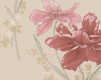 Chic Belle Fleur Floral Wallpaper - Large Pink Flower on Cream, Garden - By The Yard - BF26847 *