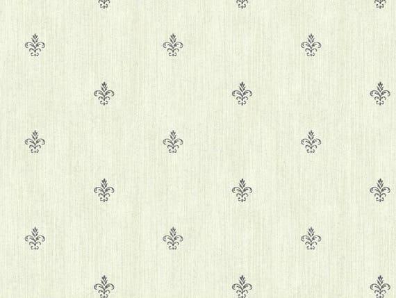 Gray Cream Fleur De Lis Wallpaper French Floral Bathroom Décor Neutral Woven Paris Chic Bedroom Faux Grass Cloth By The Yard Ab1863fl