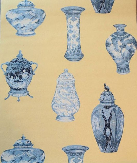 Wallpaper Old Blue And White Asian Vases And Urns On Yellow Etsy