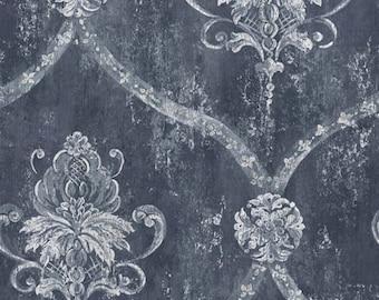 Dark Blue Floral Medallion Distressed Damask Wallpaper