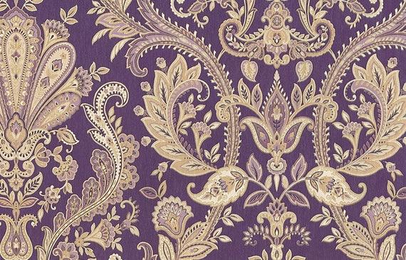 Ornate Baroque Damask Wallpaper Royal Purple Lilac Gold
