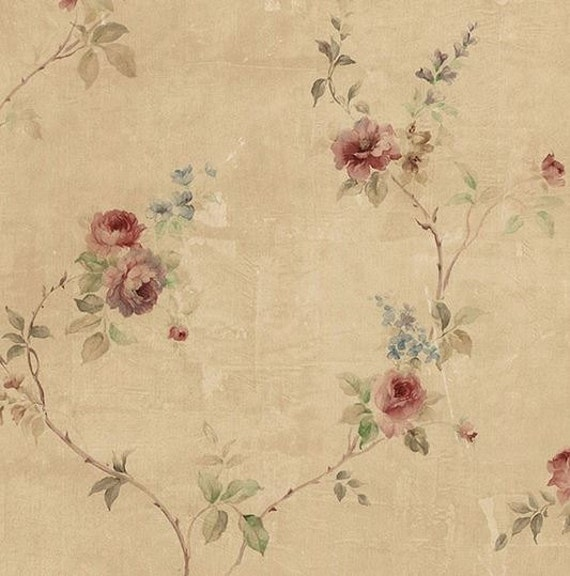 Antiqued Rose Floral Wallpaper Vintage French Victorian Burgundy Faded Country Flower Distressed Faux Texture By The Yard Sp24431so