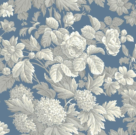 Modern Victorian Floral Wallpaper White Gray Dusty Blue Cabbage Rose Vintage Toile Shabby Chic Hydrangea Print 5 X7 Sample Kc1845so