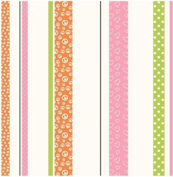 Whimsical Colorful Stripe Wallpaper Peace Sign Polka Dot