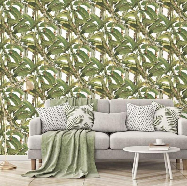 Banana Plant Leaves Dark Wallpaper Tropical Polynesian Etsy