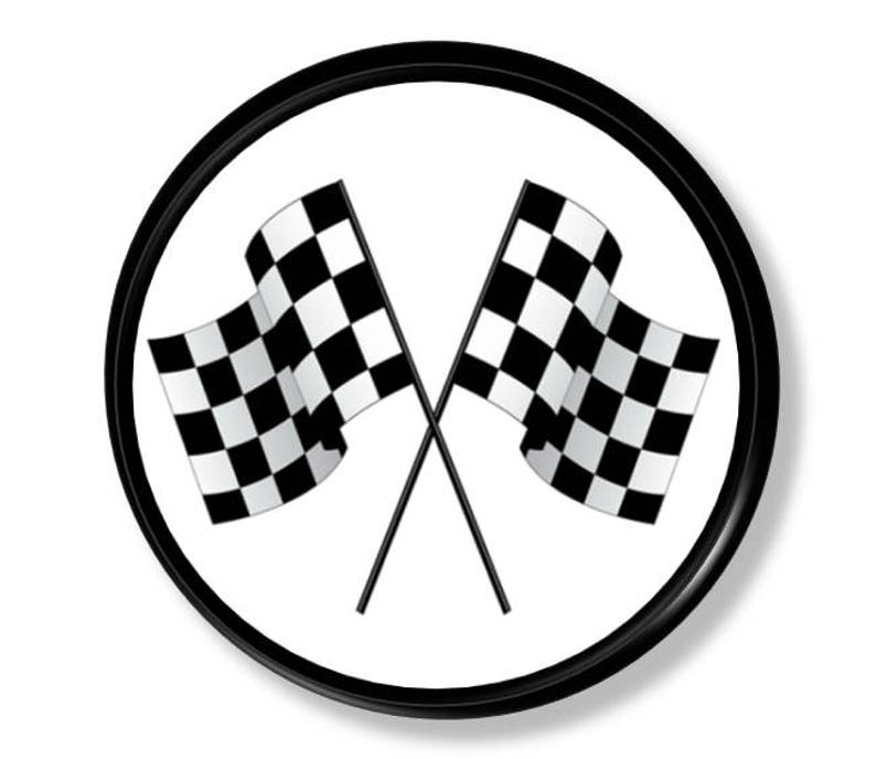 Checkered Flag Racing Cabinet Knob Race Car Black White