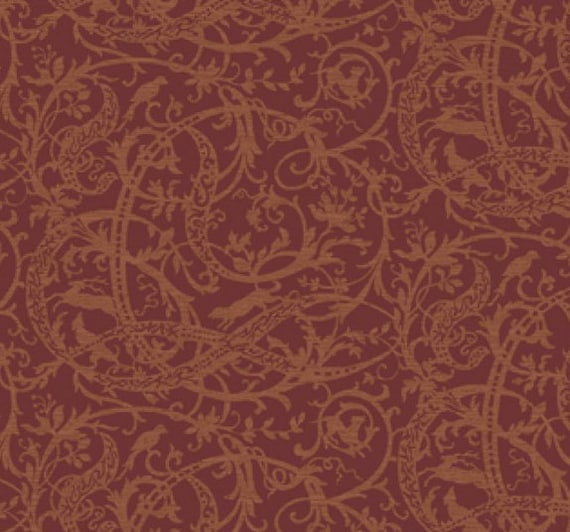 Scrolling Woodland Toile Damask Wallpaper – Dark Burgundy Plum Rustic  Mancave Bathroom, Masculine Outdoor Office Décor – By The Yard AE2937
