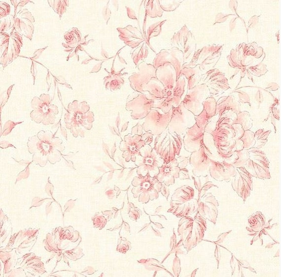 Wallpaper Powdered Pink Vintage Inspired Floral Toile Watercolor Shabby Cottage Flower Country Chic By The Yard Cg28818 So