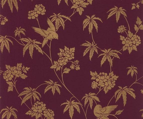 Bird Chinoiserie Floral Wallpaper Elegant Gold Metallic Oriental Toile Dark Burgundy Plum Tropical Asian Palm Leaf By The Yard Ch28282