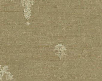 Wallpaper - Cream Fleur De Lis Stamp on Tan Horizontal Stria Faux Texture, Traditional, French, Bathroom, Bedroom - By The Yard - RC3782