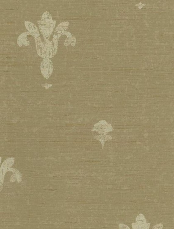 Wallpaper Cream Fleur De Lis Stamp On Tan Horizontal Stria