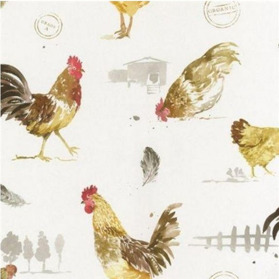 Country Farm Animal Chicken Wallpaper Farmhouse Rooster Hen Etsy