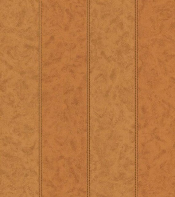 Simulated Stitched Leather Wallpaper Brown Tan Cream