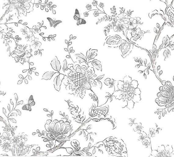 Modern Farmhouse Wallpaper Black White Hand Drawn Floral Toile French Cottage Shabby Chic Vintage Botanical 12x9 Sample Fh37540so
