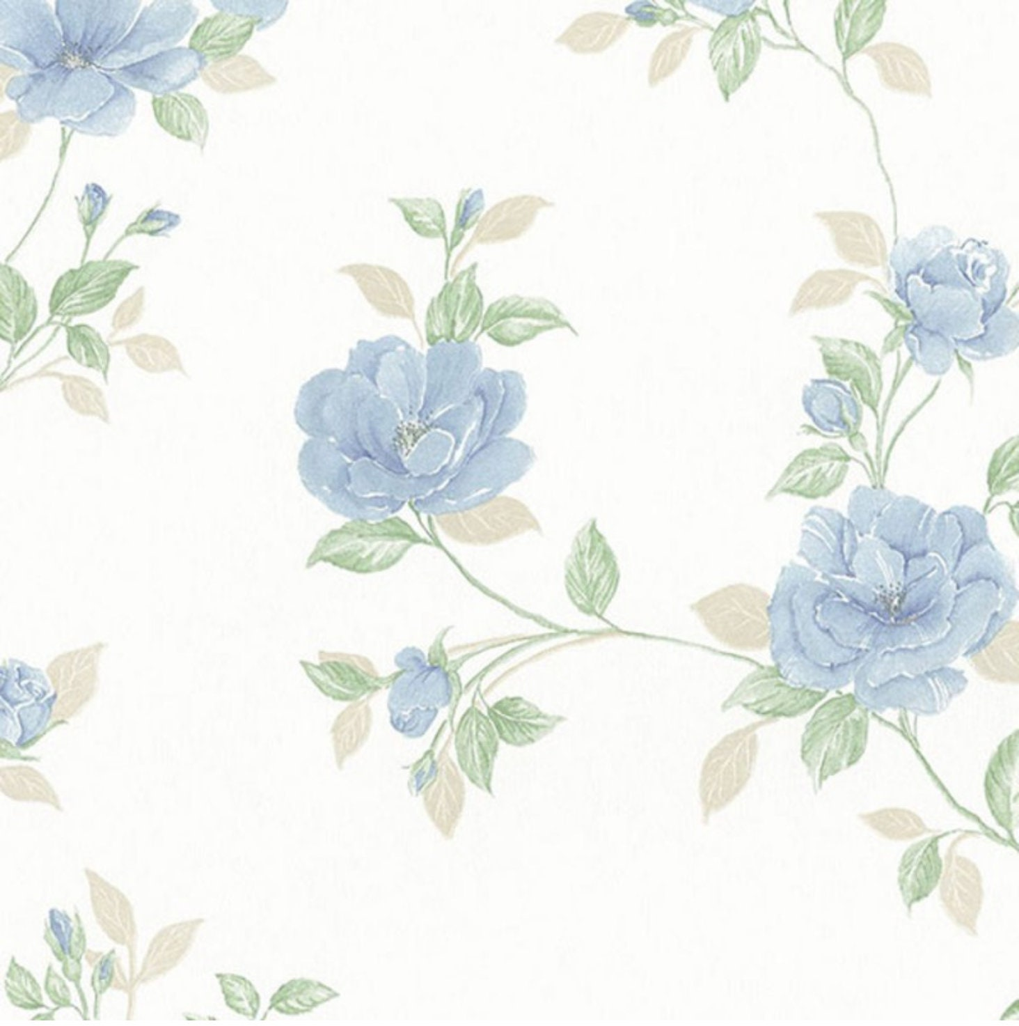 Soft Blue Floral Trail Wallpaper Country Cottage Bathroom Etsy