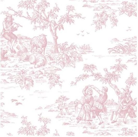 Pink And White French Countryside Toile Harvest People Sheep Victorian Country Animal Pastoral Wallpaper By The Yard Fl26187 So