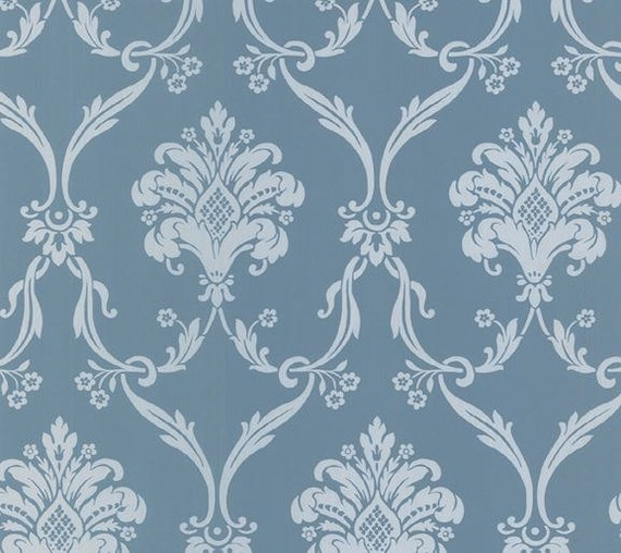 Ornate Silver And Blue Metallic Damask Wallpaper Floral