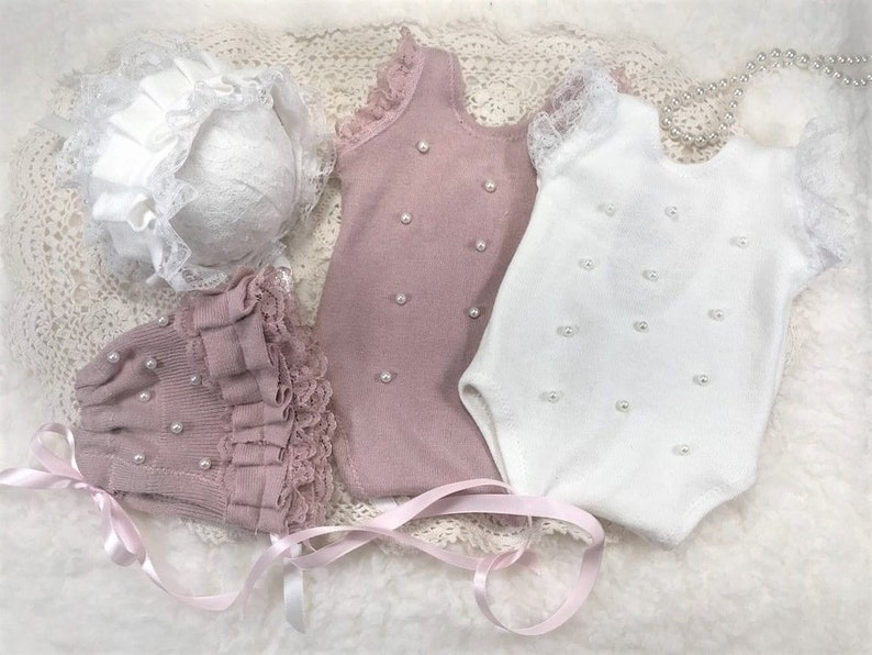 baby girl photo newborn photo prop Mauve Pearl Romper Set mauve knit with pearls sweater knit romper new baby girl romper pearl bonnet
