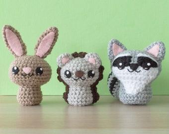 Crochet Rabbit, Hedgehog and Raccoon Amigurumi Pattern - Backyard Critters 3