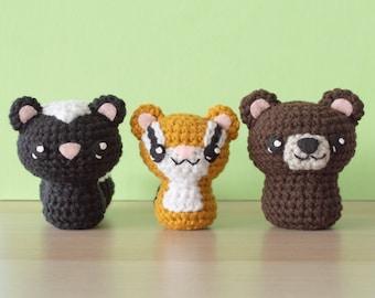 Crochet Skunk, Chipmunk and Bear Amigurumi Pattern - Backyard Critters 2