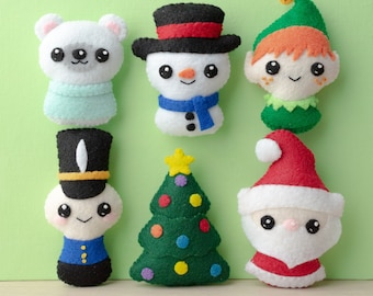 Felt Santa, Christmas Tree, Toy Soldier, Elf, Snowman, Polar Bear Sewing Pattern - Ho Ho Holidays 1