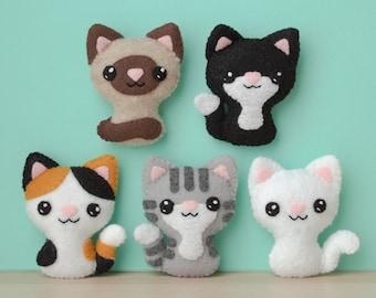 Felt Cat Sewing Pattern - Swat Team Kitties