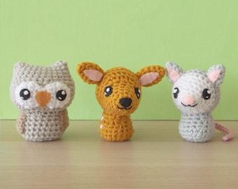Crochet Owl Pattern, Crochet Deer Amigurumi, Amigurumi Opossum Pattern - Backyard Critters 4