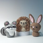 Backyard Critters 3 Crochet Amigurumi Pattern with Bunny Rabbit, Hedgehog and Raccoon