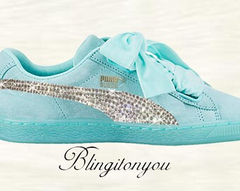 2311d1829782 New Swarovski Women s Blue Puma Suede Heart Shoes Custom Blinged with Clear  Swarovski Crystal Rhinestones