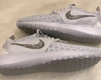 new arrival c297d f1f02 white Pure Platinum Nikes bling Juvenate authentic nikes swarovski crystals  bling summer beach shoes great casual fun shoes