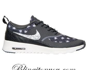 buy online 38463 8944a blingitonyou Black Wolf Grey Dark Grey SALE Bling Nike Air Max Thea Running  Shoes leopard cheetah Swarovski Elements Crystal Rhinestones