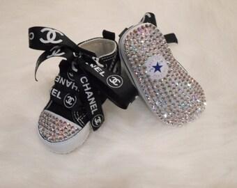 SALE Baby Black Converse crib shoes Swarovski Crystals Bling Pageant  PRINCESS Photo PROP girl or boy sparkle shine designer inspired ribbon fe8883d24f