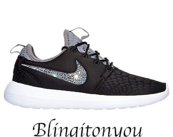 e9eeaaa374eee ... coupon code for nike womens roshe two se black shoes blinged with  beautiful swarovski crystals perfect ...